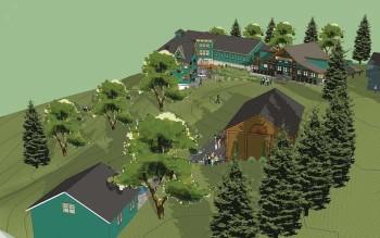 Vue d'artiste : vue aérienne du sud-est. Piscine et bâtiment des arts au premier plan. Notez la nouvelle zone de pelouse rounde et plate entre la grange d'art et la cafétéria.