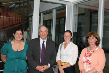 Left to right, Lilianne Mathieu, prof, Ron Creary, Butters F., Mélanie Barrette, winner, & Johanne Coiteux, Butters F.,