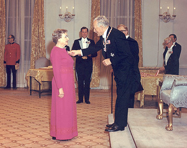 Lily Butters receiving the Order of Canada in 1972